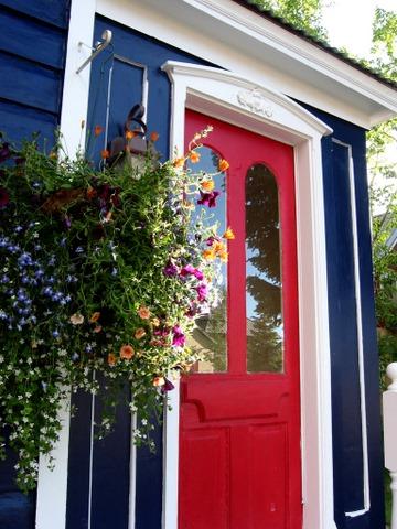 Flower basket on the door