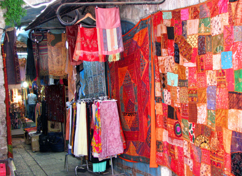 Colorful quilts in the market
