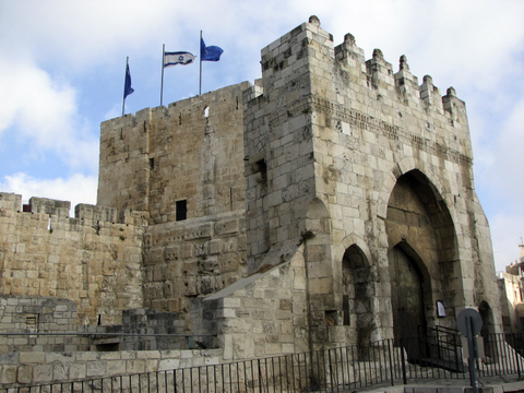 Tower of David Museum with Israeli Flag